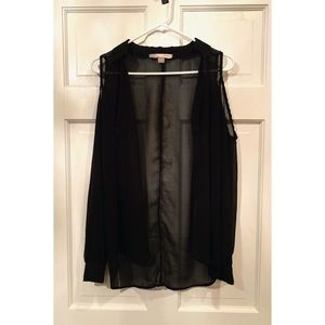 Forever21 Cold-Shoulder Long Sleeve Chiffon Top